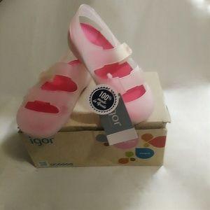 Igor Toddlers Bondi Fuschia & White Shoes